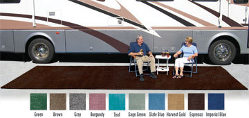 Charming Prest O Fit RV Camper Patio Rug 6 Foot X 9 Foot Expresso Mat
