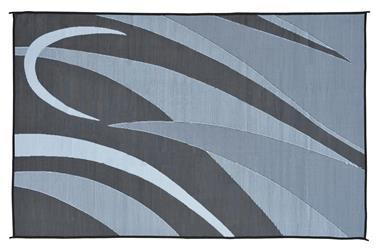 8 X 12 Reversible RV Patio Mat/Rug/Carpet Outdoor Black Silver